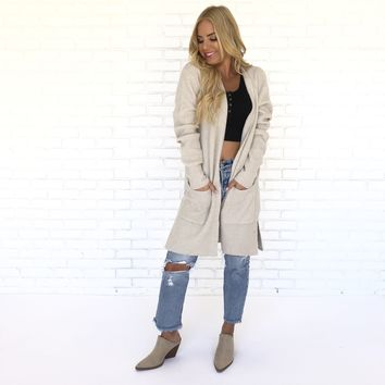 Grind It Out Long Knit Cardigan in Beige