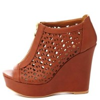 Qupid Zip-Up Cut-Out Peep Toe Wedges by Charlotte Russe - Cognac