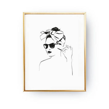 Pin Up Girl Print, Makeup Print, Fashion Poster, Illustration Poster, Stylish Woman, Fashion Illustration, Bedroom Decor, Fashion Girl