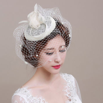 Fashion Black Linen Bridal Hats 2016 Ivory Feathers Wedding Bride  Hat Veil Bibi Plume Mariage BH10