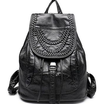 2017 New Women Black Trendy Woven Pattern Faux Leather Flap Backpack