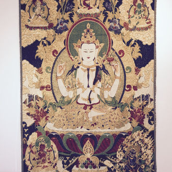 Avalokiteshvara on Navy Blue and Gold