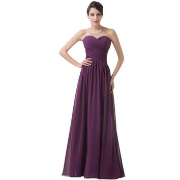 Long Evening Dress Women Floor Length Chiffon Evening Gowns Sweetheart Party Gown Formal Special Occasion Dress