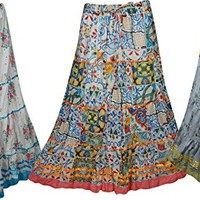 Mogul Womens Maxi Skirts Floral Printed Hippie Gypsy Sexy Long Skirts Wholesale 3 Lot