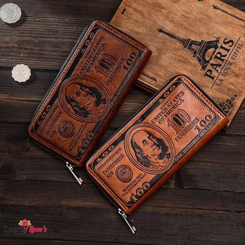 US 100 Dollar Bill Money Long Unisex Wallet