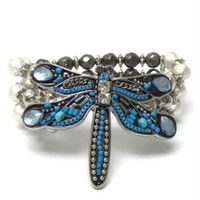 Eye Catching Large Dragonfly Multi Color Stretch Bracelet