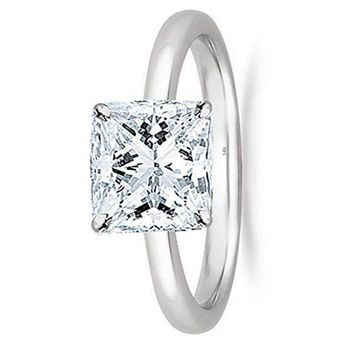 1/2 - 2 Carat GIA Certified 14K White Gold Solitaire Princess Cut Diamond Engagement Ring (G-H Color, VS1-VS2 Clarity)