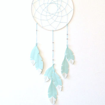 Dream catcher wall hanging, Mint Green dreamcatcher, Dream Catcher Decor, Nursery Wall Decor, Baby room decor