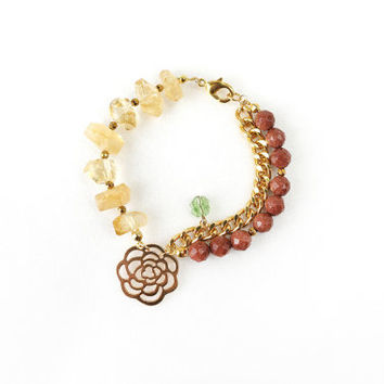 Yellow Citrine Bracelet with Brown Gold Sandstone and Big Rose Charm Pendant, Clover Swarovski Crystal, Fashion Jewelry