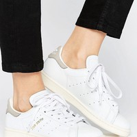 adidas Originals White And Grey Stan Smith Trainers at asos.com