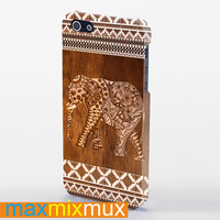 Elephant Aztec Wood Tekture iPhone 4/4S, 5/5S, 5C Series Full Wrap Case