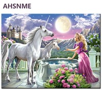 AHSNME 40x50cm Girl and unicorn Diy Oil Painting By Numbers Kits Wall Art Picture Home Decor Semi-finished oil painting