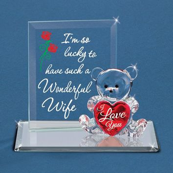 Glass Baron Bear Im So Lucky - Wife Figurine
