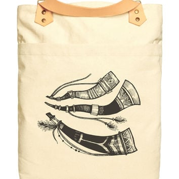 Tribal Hunting Horns Print Cotton Canvas Leather Strap Laptop Backpack WAS_34