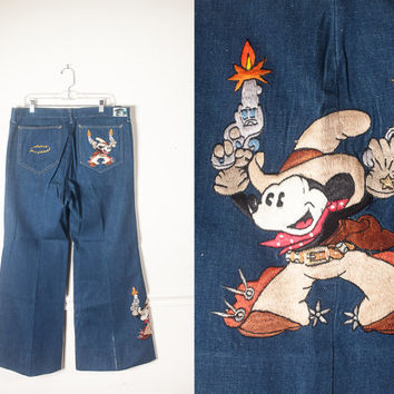 1970s Vintage Mickey Mouse Jeans | Mens Jeans Mickey Mouse Denim Disney Jeans 70s Bell Botton Jeans Western Boho Antonio Giusseppe