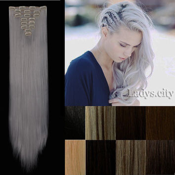 "8pcs Heat Resistant Hair Hairpiece 26"" 18 Clips in Hair Extension Synthetic Long Straight False Hair Extensions"