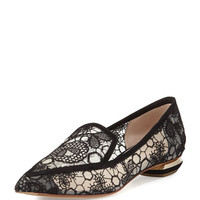Nicholas Kirkwood Beya Lace Point-Toe Loafer, Black