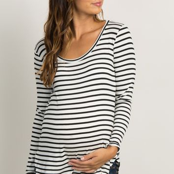 Ivory Striped Long Sleeve Maternity Top