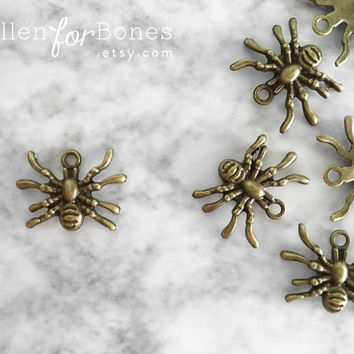 5pcs ∙ Itsy Bitsy Spider Charms Tiny Insect Pendant Halloween Earrings Jewelry Supplies