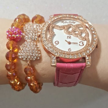 003b0085ad134a Hello Kitty Watch   Bracelets Rose Gold Pink Set (in gift ...