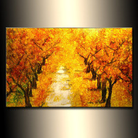 Original Landscape Autumn Colors Tree Pathway Abstract Painting Modern Contemporary Fine Art by Henry Parsinia Large 36x24
