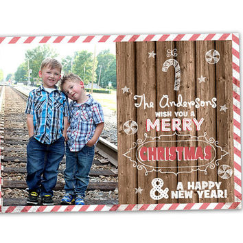 Candy Cane Photo Christmas Card - Christmas Card Set - Christmas Cards - Holiday Cards - Candy Cane Rustic Wood - Country Christmas Cards