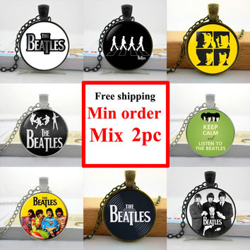Multi-2 New Fashion The Beatles Necklace Fashion Rock Band Pendant Glass Necklaces Pendants Music