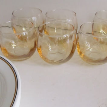 Bohemian Amber Glass 70s Glassware Amber Swirl Pattern Glass Low Ball Glasses set of 6 glassware Barware Glass
