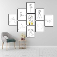 Wall Art Poster Abstract Picasso Line Drawing Women Naked Body Prints Wall Picture Canvas Painting For Bedroom Modern Home Decor