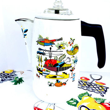 Mid Century Enamelware Percolator  Coffee Pot White  Like George Briard with Retro Graphics Mod Vintage Kitchen