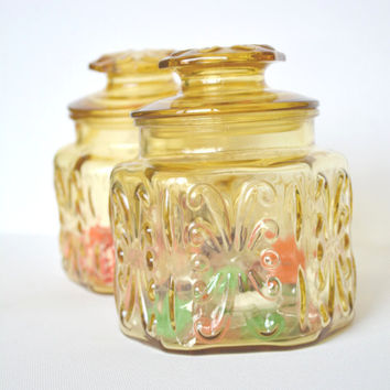 Farmhouse Decor, Antique Glass, Storage Containers, Light Amber Candy Jar with Lid, Yellow Glass Jars, Mid Century Modern Decor, Vintage