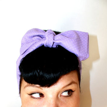 Vintage Inspired Head Scarf, Bow or Bandanna Style, Purple with dots, Rockabilly, Retro