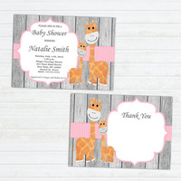 Girl Baby Shower Invitation Elephant Baby Shower Invitation Baby Girl Shower Invitation Baby Shower Invite Pink (G50AW) Free Thank You Card