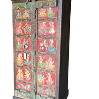 Antique Indian Wardrobe Hand painted Ganesha SHabby Chic Cabinet Armoire One of Unique Kind Bohemian ECLECTIC Decor