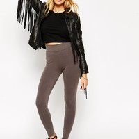 ASOS High Waist Leggings In Washed Gray