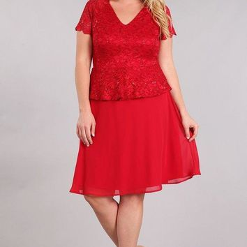 Mother of the Bride Plus Size Short Dress