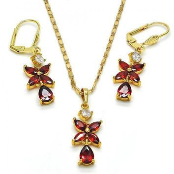 Gold Layered 10.283.0012 Necklace and Earring, Flower and Teardrop Design, with Garnet and White Cubic Zirconia, Polished Finish, Golden Tone