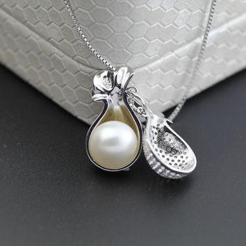 Freshwater Pearl Pendant Necklace for Women,Fashion 925 Silver Pearl Pendants Jewelry Daughter Mom Birthday Best Gift White 45cm