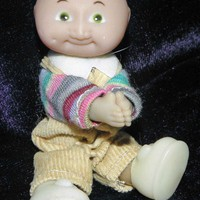 "Vintage 1980's Mini 3-1/2"" Cabbage Patch Boy Clip-on Doll"