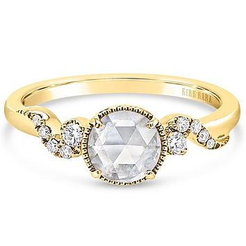 Kirk Kara Rose Cut Whimsical Swirl Gold Diamond Engagement Ring