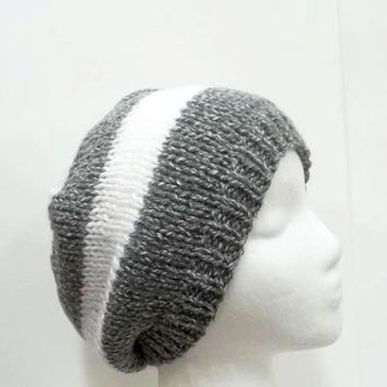 Gray and white stripes beanie hat handmade  5242