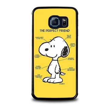 snoopy dog perfect friend samsung galaxy s6 edge case cover  number 1