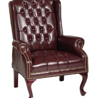 Office Star Mahogany Traditional Queen Anne Style Chair