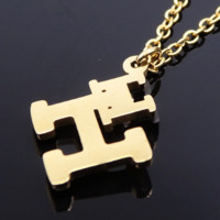 "Hermes stainless steel gold jewelry double ""H"" vacuum plating polishing necklace"