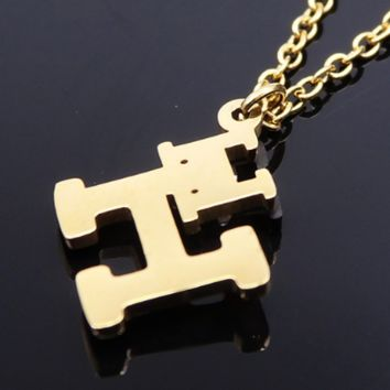 """Hermes stainless steel gold jewelry double """"H"""" vacuum plating polishing necklace"""