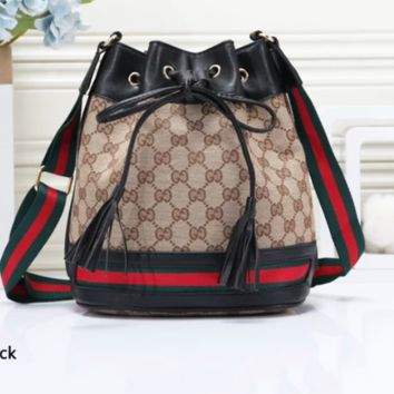 GUCCI fashionable lady print patchwork color hot seller of backpacks Black