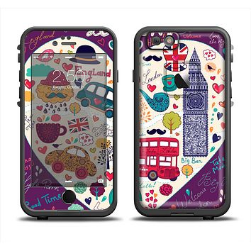 The Vector Purple Heart London Collage Apple iPhone 6 LifeProof Fre Case Skin Set