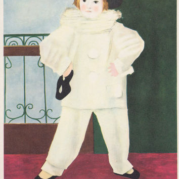 """Vintage French Postcard -- Pablo Picasso """"Pierrot with mask"""" -- 1970s"""