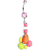 Pink Gem Neon Jumble Dangle Belly Ring | Body Candy Body Jewelry