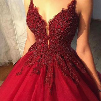 Beaded V Neck Burgundy Prom Dress with Lace Flowers, Burgundy Formal Gown